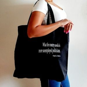 Handbags - Black canvas tote bag